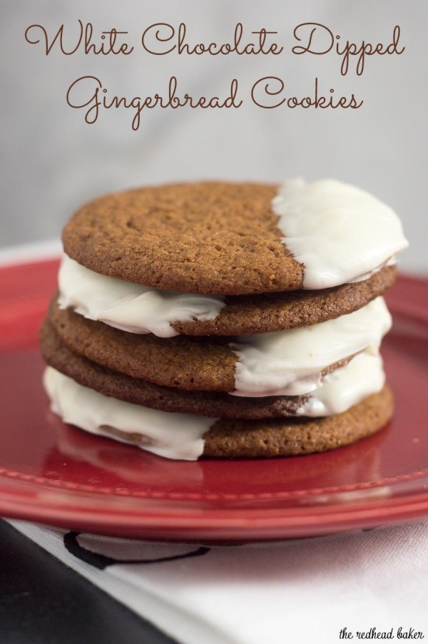 Warmly spiced gingerbread cookies get fancy for the holidays with a dip in white chocolate. Santa will love getting these cookies on Christmas Eve!