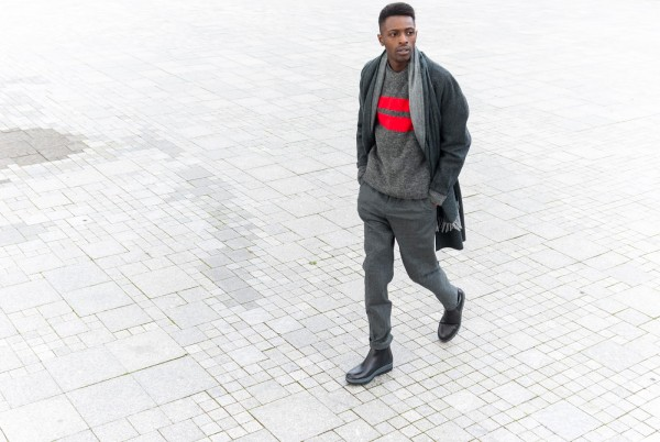 H&M Men's Collection FW/15 Style Guide by JON THE GOLD - monochrone look for men with layers of grey with david beckham sweater and flilippa k boots fw15