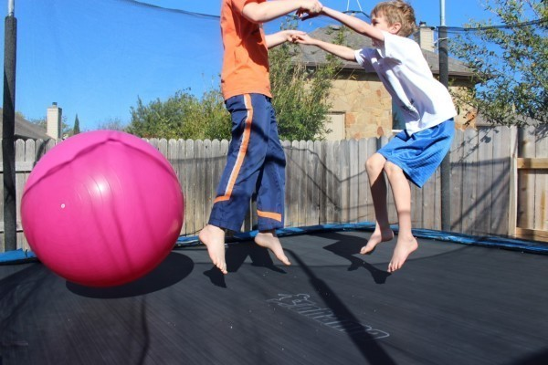 Kirsten's boys, enjoying their own dance party on the trampoline.