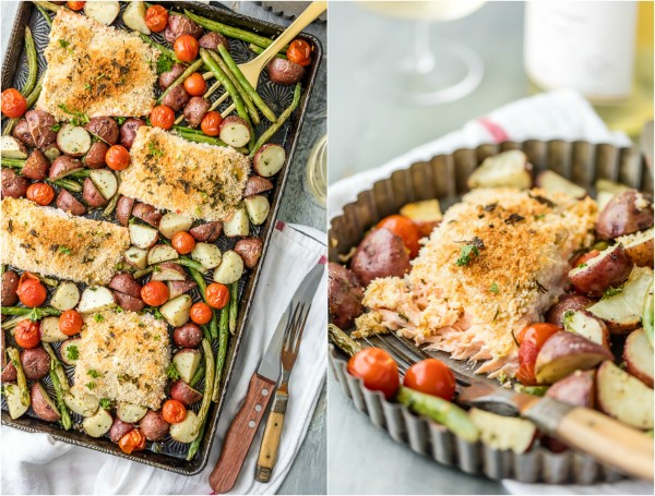 Sheet Pan Honey Mustard Crusted Salmon is the perfect healthy one pan meal! Made in under 30 minutes, skinny, and full of flavor. Oven baked salmon on a baking sheet with potatoes, tomatoes, and green beans!