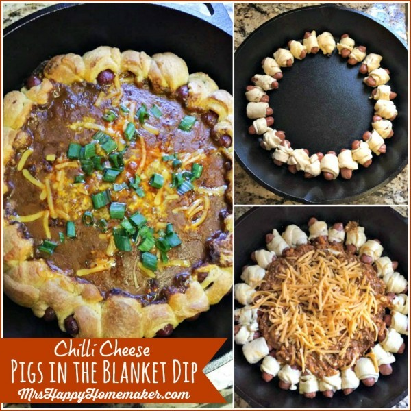 Chili Cheese Pig in the Blanket Dip - one of the best things since sliced bread! Think of an edible wreath constructed of pigs in the blanket but filled with a cheesy chili dip. It's SO good, and super easy too. | MrsHappyHomemaker.com @thathousewife