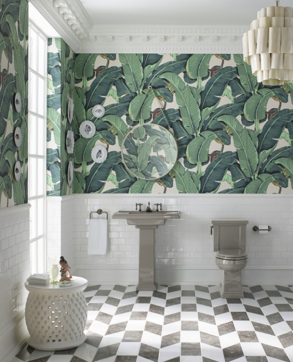 The playful pattern bathroom trend 3 ways to get inspired - Salle de bain tropicale ...