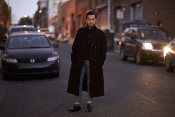 Yohji Yamamoto coat, CP Company sweater, AG jeans, Allen Edmonds x The Dandy Project custom shoes