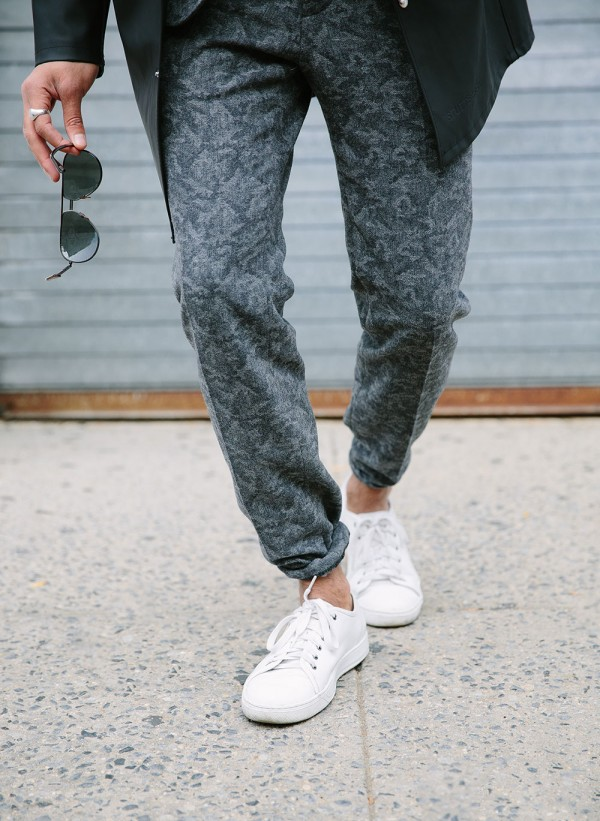 Menswear gray printed suit pants
