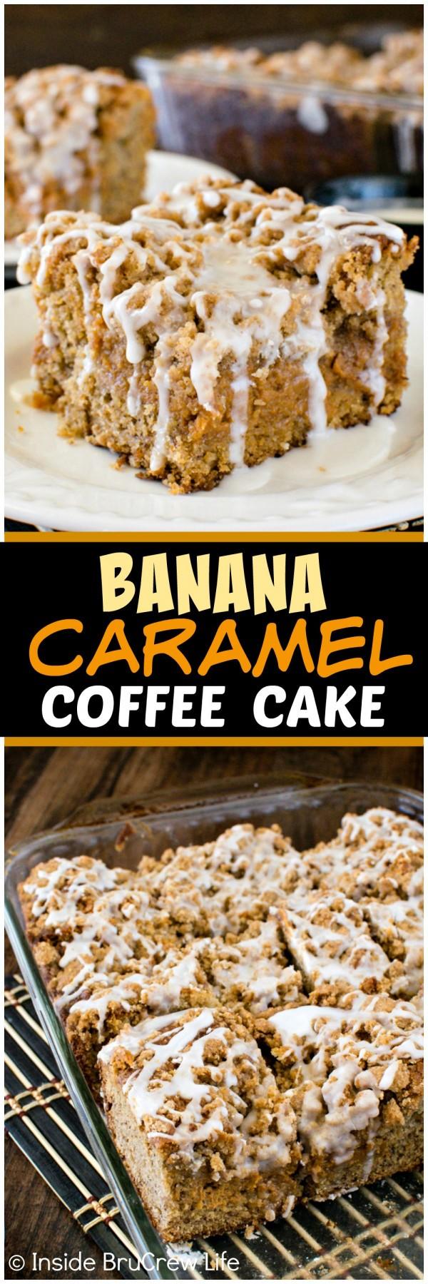 Banana Caramel Coffee Cake - lots of crumbs, glaze, and caramel cheesecake layers make this the best banana cake. Great breakfast or dessert recipe!