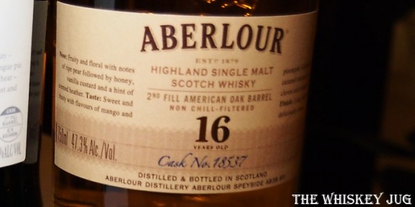 Aberlour 16 Years Single Cask Label