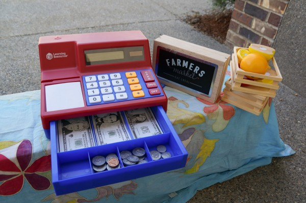 This cash register was the perfect addition to my son's make believe Farmers Market booth.