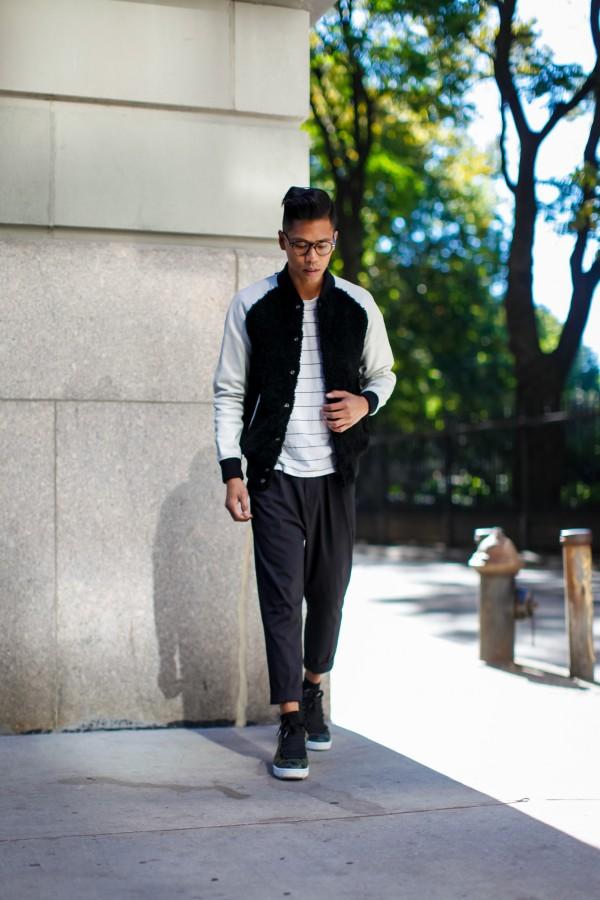 mens varsity jacket streetstyle