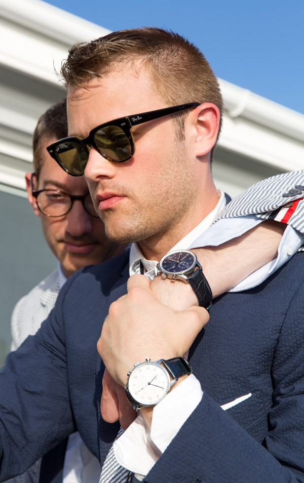 Ryan Hahn and Harris Levinson wearing IWC watches for their wedding photos - Gay & Same Sex Wedding Photography by Talun Zeitoun