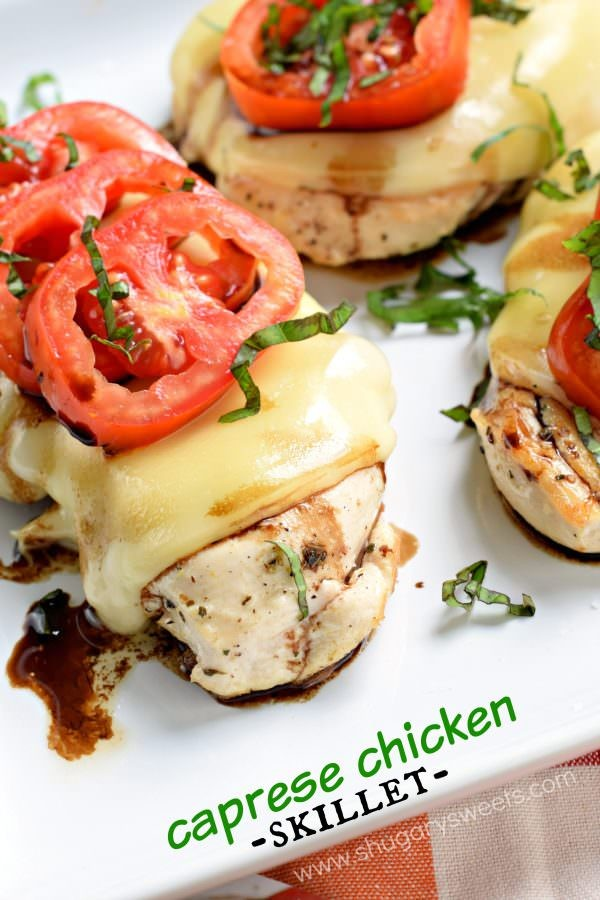 Caprese Chicken Skillet dinner is ready in 15 minutes! Delicious pan seared chicken topped with mozzarella, tomatoes, basil and balsamic!