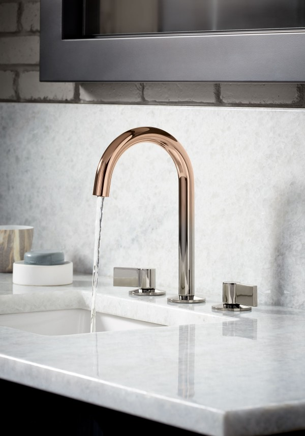 Components™ Tube Bathroom Faucet    Verticyl® Sink    With a striking transition from light to dark, Vibrant Ombré's ethereal hues harmonize in a dramatic yet balanced way – a stunning contrast to the marble counter and tactile brick wall.