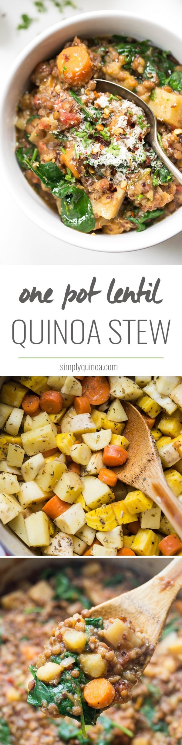 This root veggie & lentil quinoa stew uses only ONE POT and is made with only healthy, wholesome ingredients! [vegan]