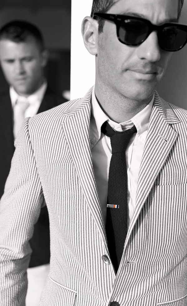 Harris Levinson in Thom Browne for his wedding photos with Ryan Hahn - Gay & Same Sex Wedding Photography by Talun Zeitoun