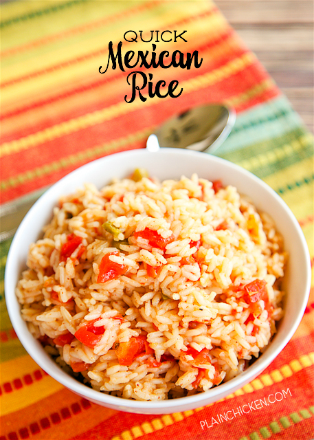 Quick Mexican Rice - only 6 ingredients and ready in 20 minutes! Rice, butter, chicken broth, Rotel, chili powder and paprika. SO much better than the Mexican restaurant!! Everyone loves this quick Mexican Rice recipe!!