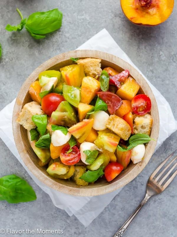 Heirloom Tomato and Peach Caprese Panzanella Salad   Flavor the Moments