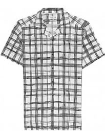 Reiss Beluga Checked Cuban Collar Shirt White