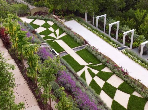 modern garden geometric stone path