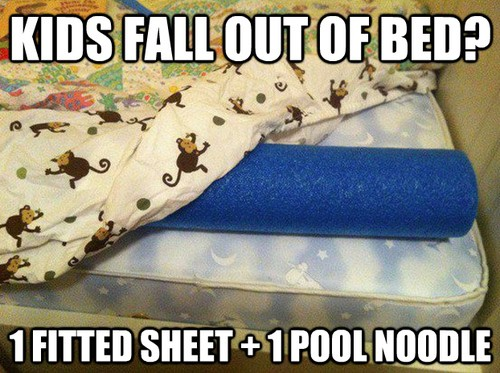 Pool noodles are great for stopping kids from falling out of beds.