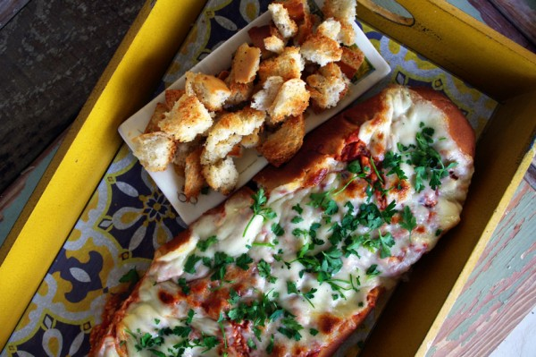 Chicken Parmesan Dip Stuffed French Bread