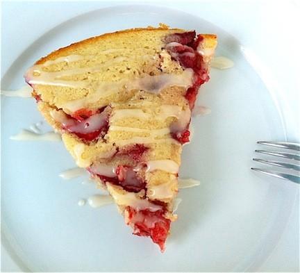 Warm Strawberry Skillet Cake with Vanilla Glaze