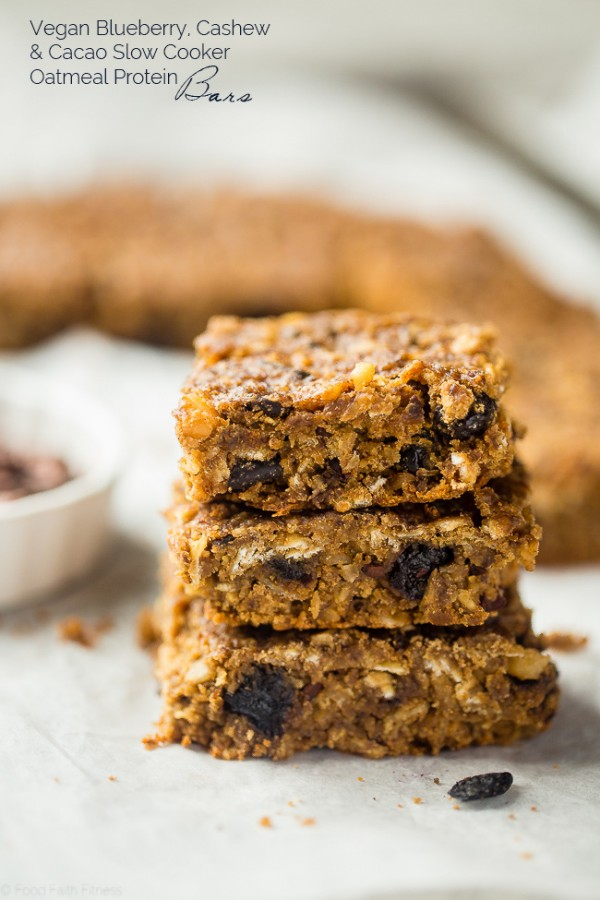 Vegan Slow Cooker Superfood Protein Bars - These easy homemade protein bars are made in your slow cooker, packed with superfoods and are gluten free and vegan friendly! Perfect for busy mornings or a healthy snack! | Foodfaithfitness.com | @FoodFaithFit