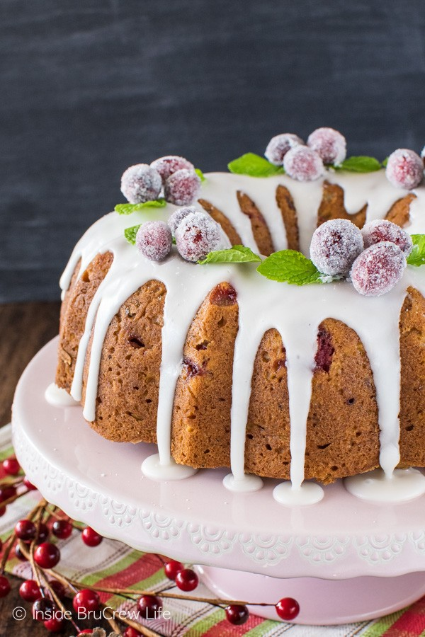 Apple Cranberry Bundt Cake - adding fresh apples and cranberries make this fruit cake a sweet dessert for holiday parties!