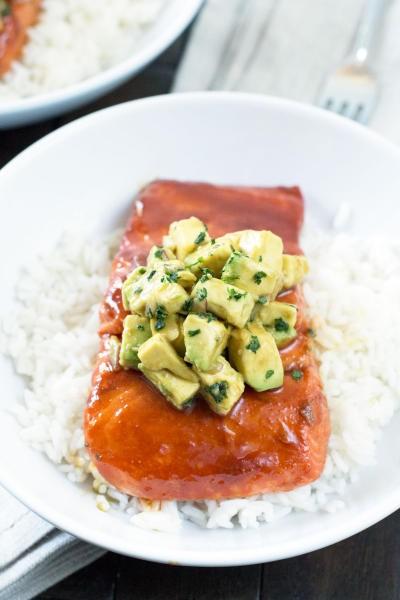 Sriracha Glazed Salmon with Asian Avocado Salsa Image