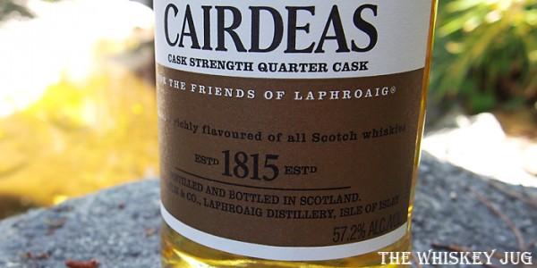 Laphroaig Cairdeas 2017 Cask Strength Quarter Cask Label