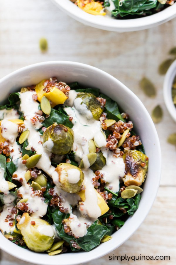 Kale + Red Quinoa Salad with roasted squash, baby brussel sprouts + a maple-tahini dressing | vegan | recipe on simplyquinoa.com