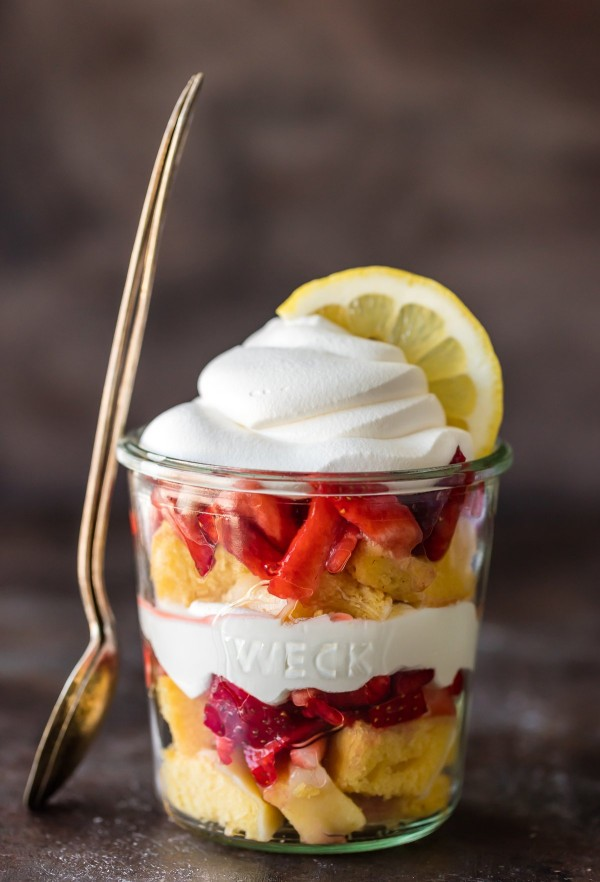 These LAYERED LEMON STRAWBERRY SHORTCAKE CUPS are super simple and delicious! Layers of lemon cake, strawberries, and cool whip make the best sweet treat for after school or anytime!