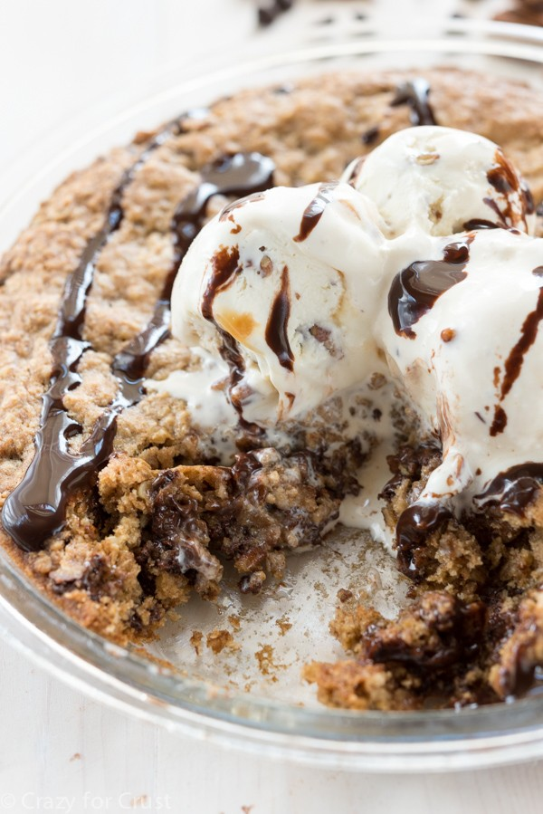 Chocolate Pecan Oatmeal Cookie Pie - an easy oatmeal cookie filled with chocolate and pecans then baked in a pie plate.