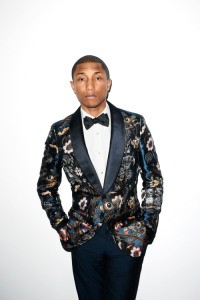 Pharrell Williams in a colorful suit