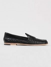 Topman Marne Loafer Black Leather Weaved Loafers