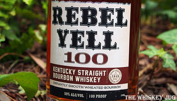 Label for the Rebel Yell 100 Bourbon Whiskey