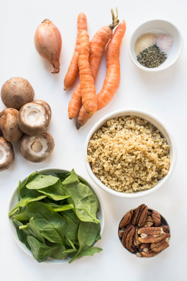 The plant-powered ingredients for Quinoa Stuffed Acorn Squash!