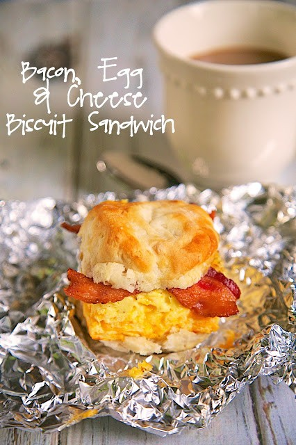 Bacon, Egg & Cheese Biscuit Sandwich Recipe - biscuit topped with a ...