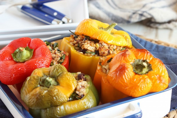Greek Style Stuffed Peppers with Chicken Feta and Kalamata Olives ...