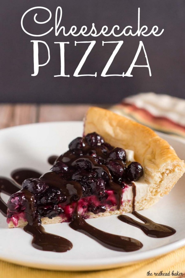 Pizza for dessert? You bet! Cheesecake Pizza has crescent dough as the crust, topped with sweetened cream cheese, berry compote and chocolate sauce. #SundaySupper