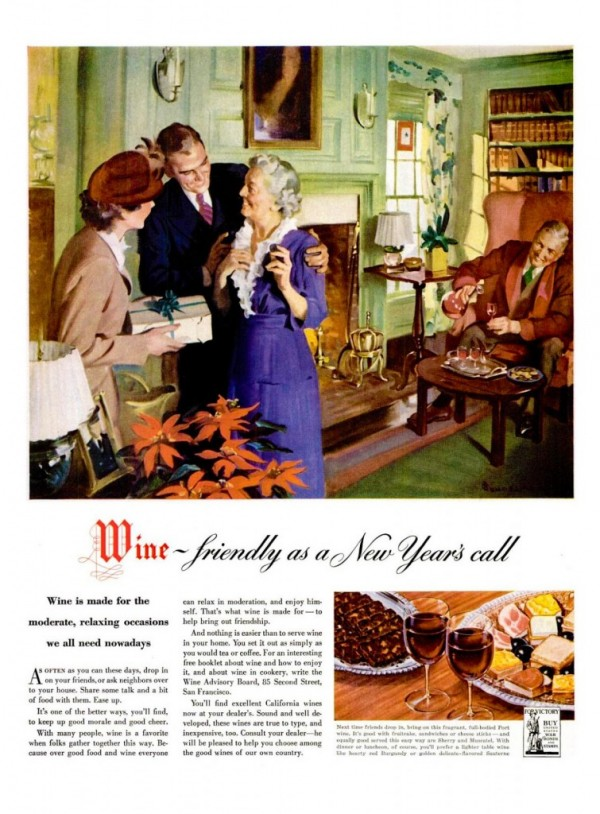 This 1942 ad from the Wine Advisory Board promotes California Wine as a suitable accompaniment to New Year's Day housecalls