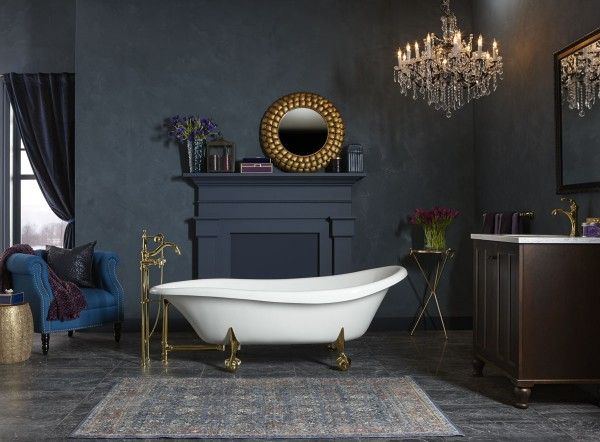 Birthday Bath freestanding bath    Antique bath filler    Antique ball-and-claw feet    The elegance of this freestanding claw-foot bath commemorates a century of KOHLER plumbing fixtures with a memorable style statement.