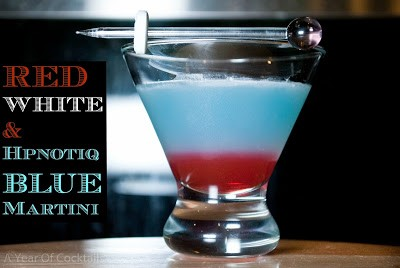 patriotic cocktail, 4th of july, hpnotiq