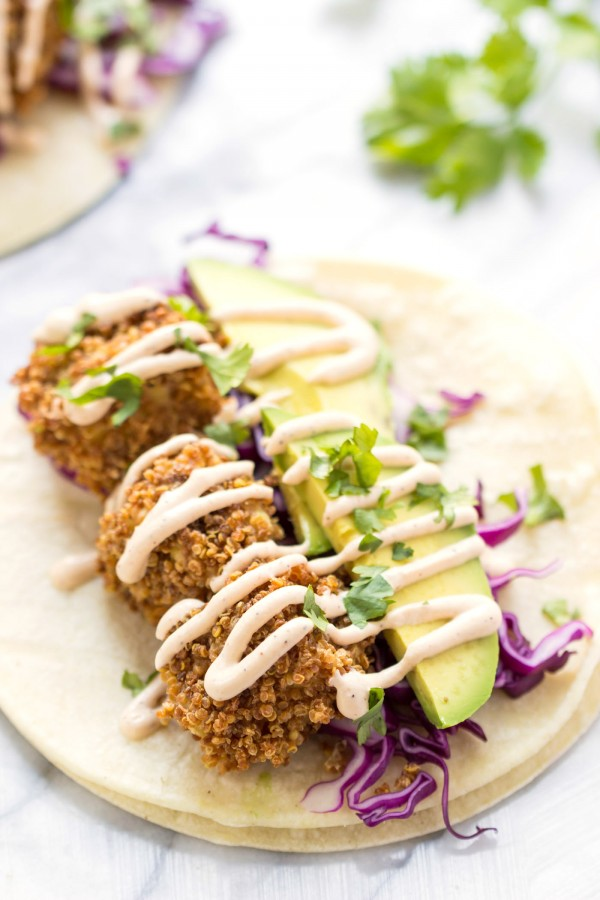 CRISPY TOFU TACOS! made with quinoa crusted baked tofu and served with a vegan lime crema!