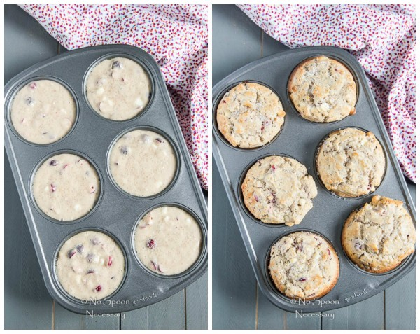 Cranberry & White Chocolate Jumbo Muffins - collage