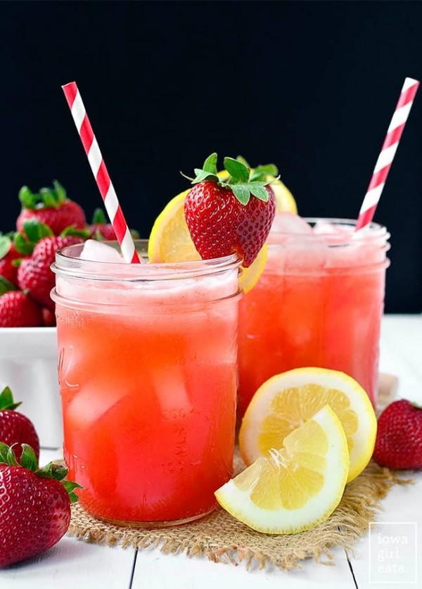 Strawberry Coconut Water Lemonade | Iowa Girl Eats