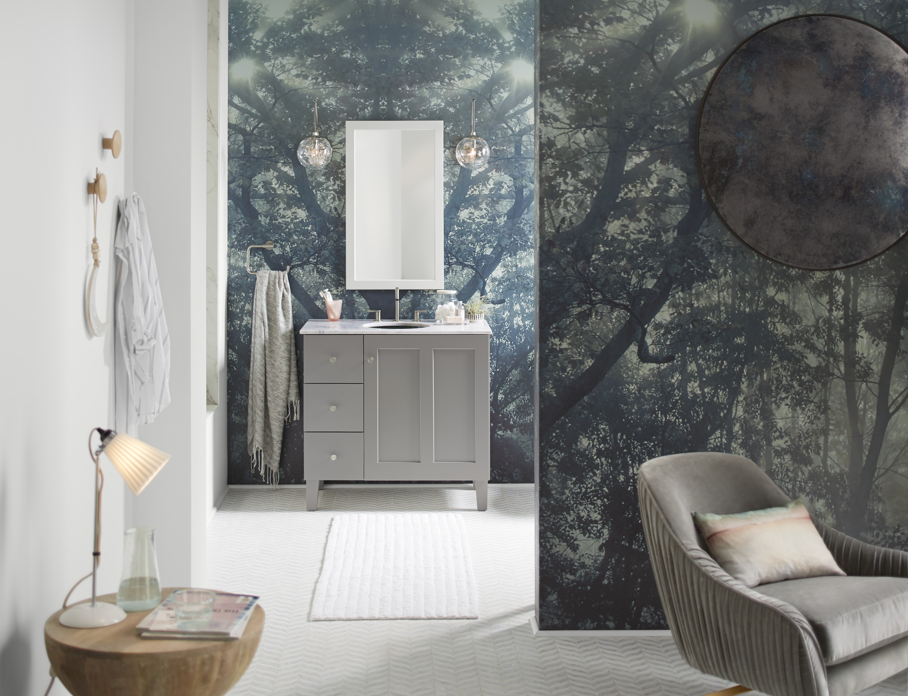 Poplin® vanity     Poplin mirror     Stillness® towel ring     Stillness faucet     The design of the bathroom is carried into the master bedroom's adjacent sitting area, bringing a cohesiveness to the entire master suite.