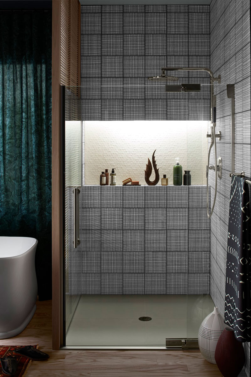 Choreograph Accent Panel     ANN SACKS Maven Field Tile     Hydrorail Shower Column      Shift Handshower     Contemporary Rainhead        A contrasting hex panel gives the eye a space to rest in the midst of bold graphic patterning.