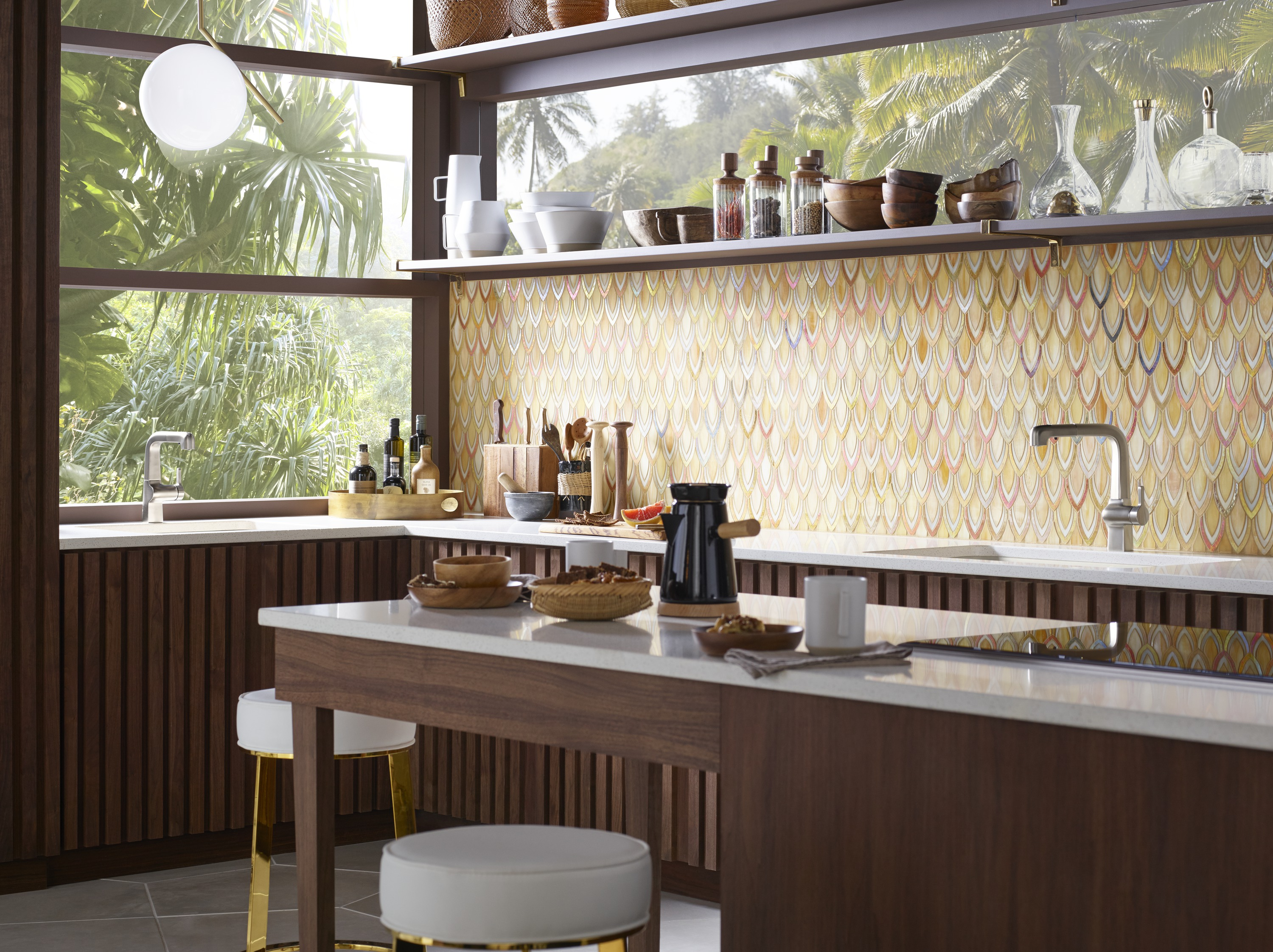 Evoke® pullout faucet     Evoke bar sink faucet     Riverby® under-mount sink     ANN SACKS® Chrysalis mosaics tile     Brazilian minimalism is hot right now. Bringing together the natural warmth of wood and exuberant tile patterns, it's modern made lively.