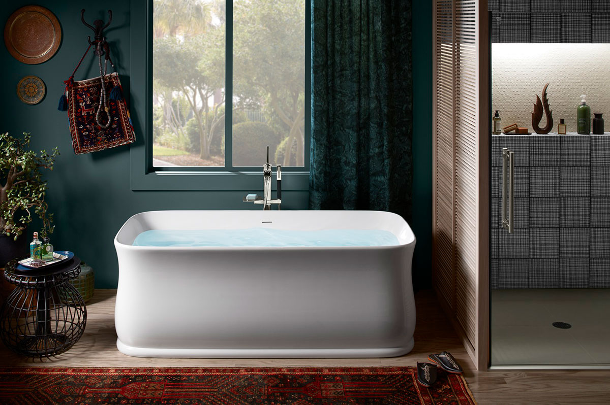 Imperator Freestanding Bath    Margaux Bath Filler    Slender but remarkably innovative by design, the thin hourglass walls of this tub retain heat for longer, more consistent soaks.