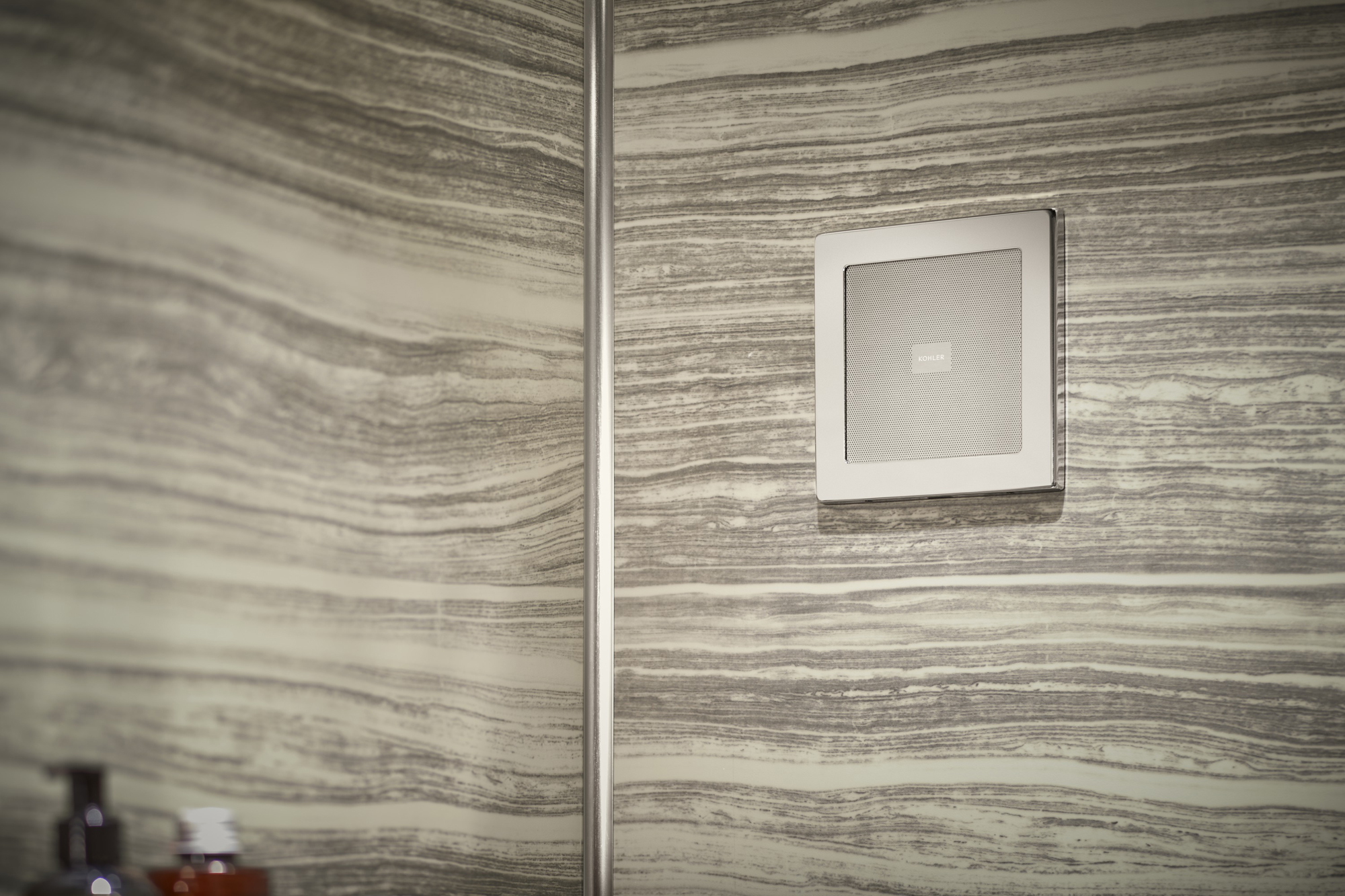 Choreograph® shower walls   SoundTile® speakers     The sleek, unobtrusive design of the speakers brings sound to the bathroom without interrupting the modern design.