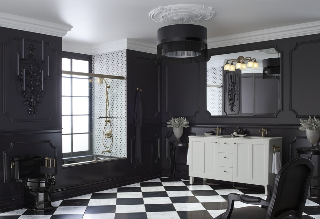 Devonshire wall sconce   Artifacts faucet   Poplin vanity   Artifacts handshower  and  showerhead   HydroRail shower column   Artifacts valve trim  and  spout   Tea-for-Two bath   Artifacts tissue carriage   Kathryn toilet